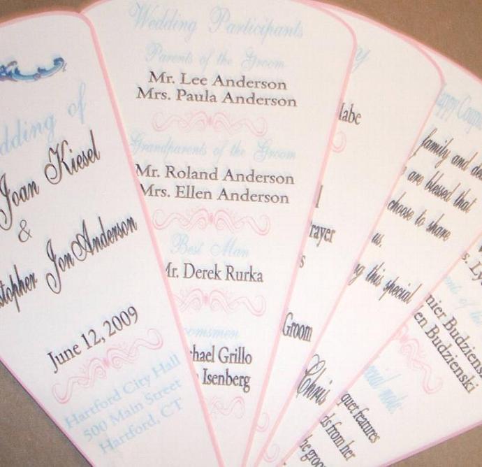 Personalized Custom Wedding Programs- 5 blade fan