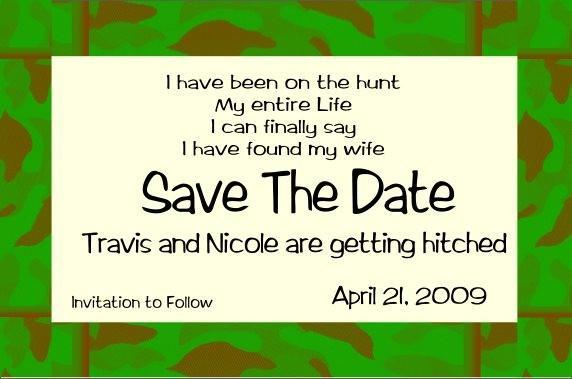 Camo border Save the Date- fun and casual