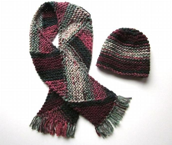 Warm Winter Women's Handmade Knitted Hat and Scarf Set