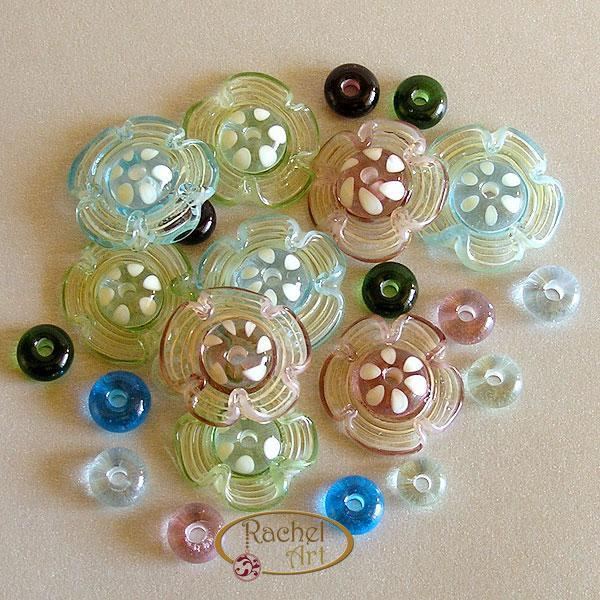 Flower Lampwork Beads, Lampwork Glass Beads, Handmade Lampwork Glass Disc Beads