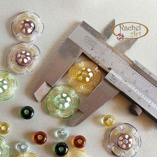Flower Lampwork Beads, Floral Lampwork Glass Beads, Handmade Lampwork Glass Disc
