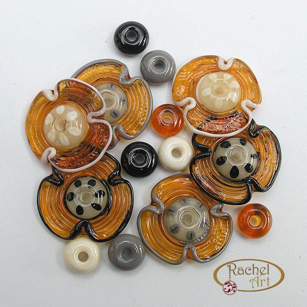 Lampwork Flower Beads, Lampwork Glass Beads, Handmade Lampwork Glass Disc Beads