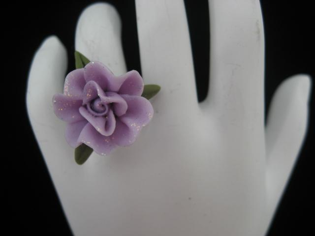 Lavender Cold Porcelain Floral Adjustable Ring