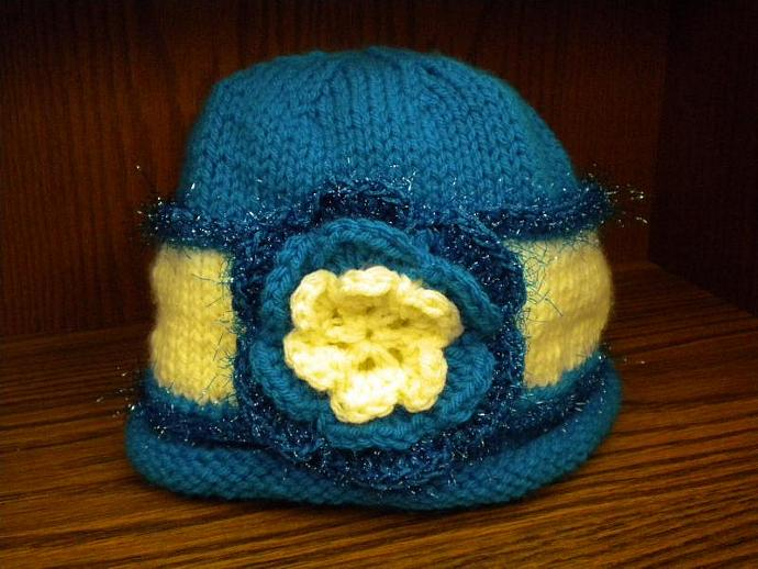Turquoise and Cream Flower Cloche