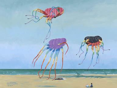 """Three Octopuses"" Giclee Paper Print by Carol Thompson"