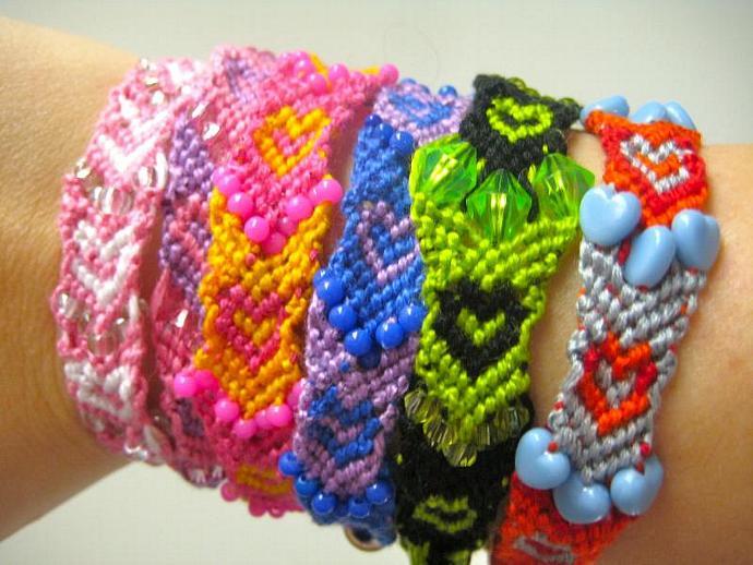 Grab Bag of Beaded Hearts Micro Macrame Friendship Bracelet Set of 5
