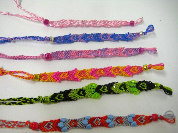 Grab Bag of Beaded Hearts Micro Macrame Friendship Bracelet Set of 5