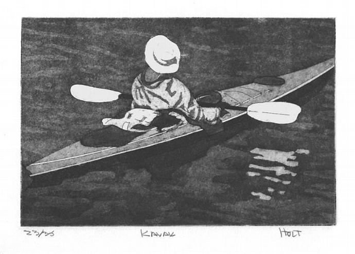 Kayak etching with aquatint hand pulled print