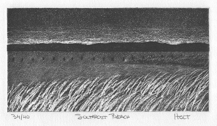 Seascape etching with aquatint Southport Connecticut