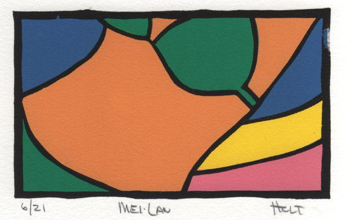Linocut print abstract female figure