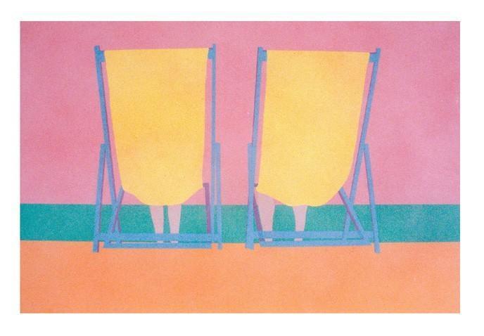 Vintage beach chairs silkscreen print Home Decor Wall Art