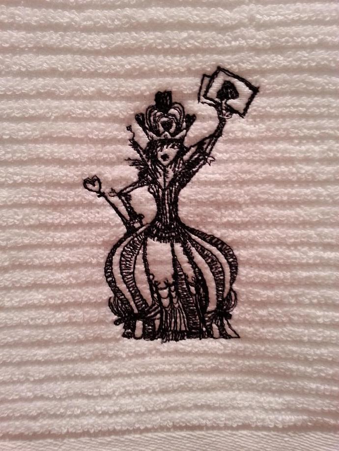 1 Kitchen Bar Towel - Embroidered Alice in Wonderland The Queen Gothic design