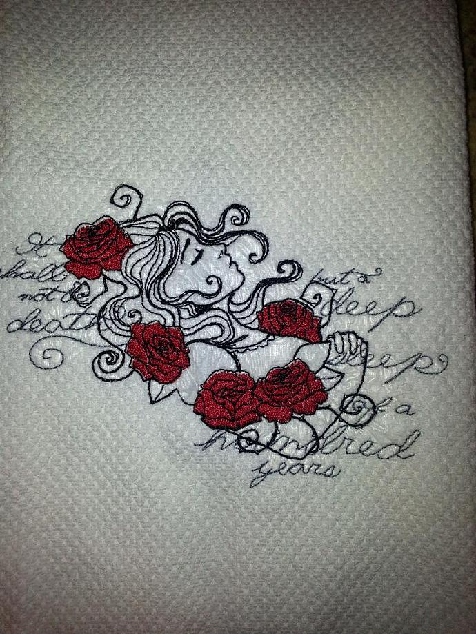 Embroidered Sleeping Beauty on White Hand Kitchen Towel, Gothic