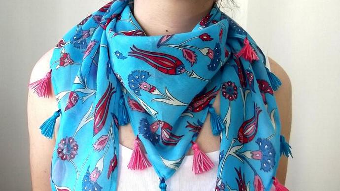 100% Cotton Blue Triangle Scarf With Traditional Ottoman Tulip And Dianthus