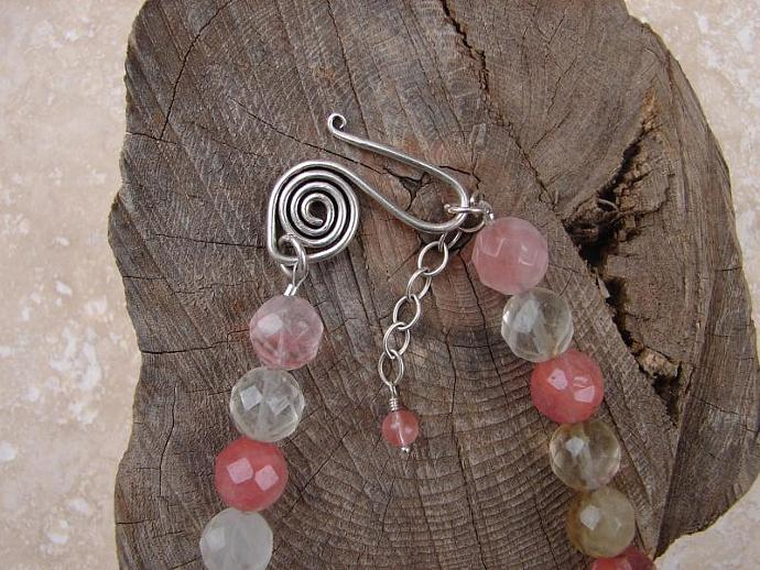 CHERRY QUARTZ  STERLING SILVER NECKLACE