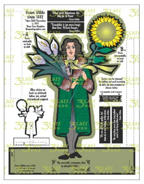Oscar Wilde circa 1882 Paper Doll Decoration Instant Digital Download