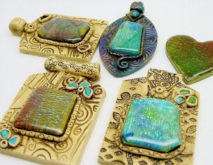 Ammolite and Crackle Veneers with Pendants - Polymer Clay Tutorial - Digital PDF