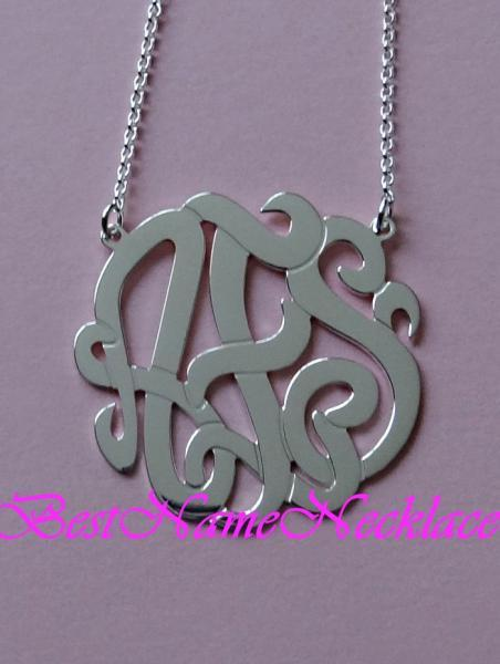 "1 1/2"" Pendant: Personalized Monogram necklace or pendant necklace, sterling"