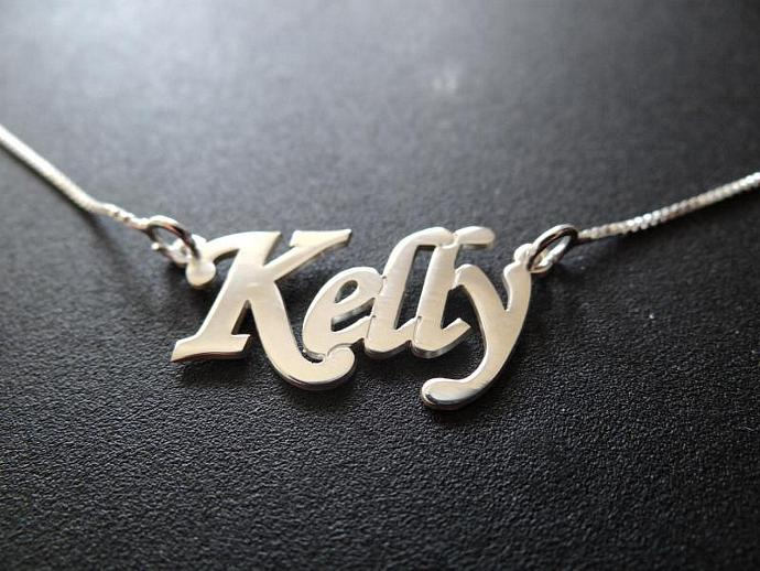 Double Thick Name Necklace with Any Name up to 13 Letters, solid sterling silver