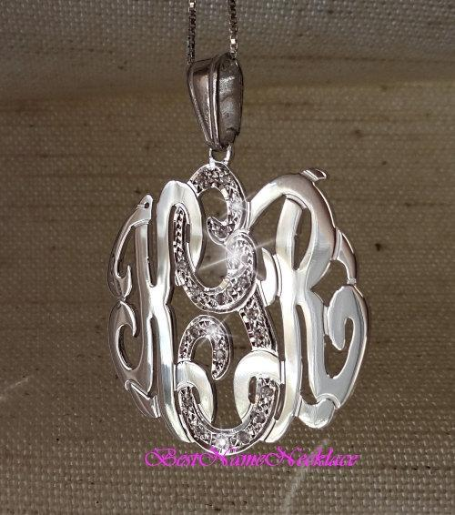 Personalized Monogram necklace or pendant necklace, sterling silver, Middle