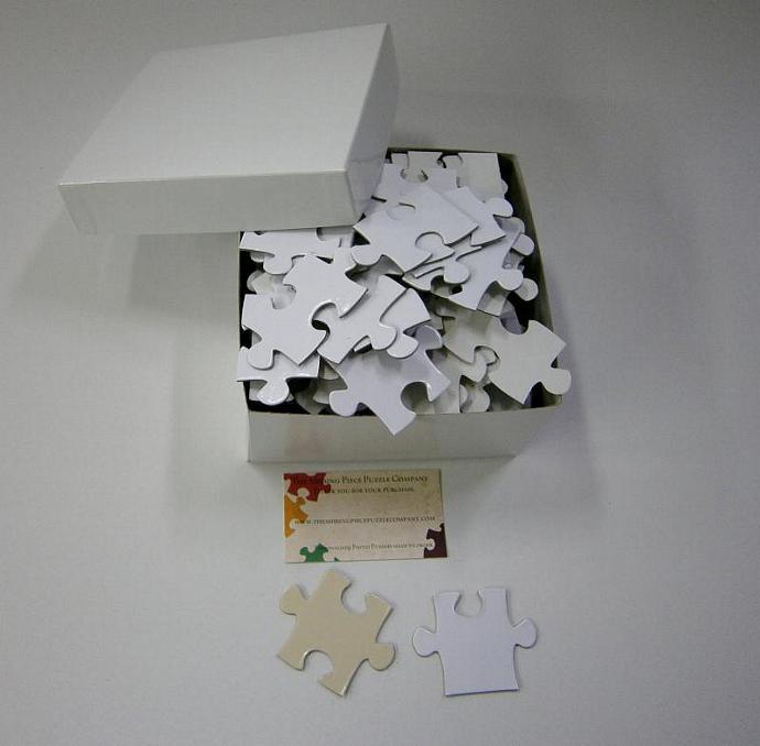 Blank White Puzzle Pieces for Unique Wedding Guest Book Alternative