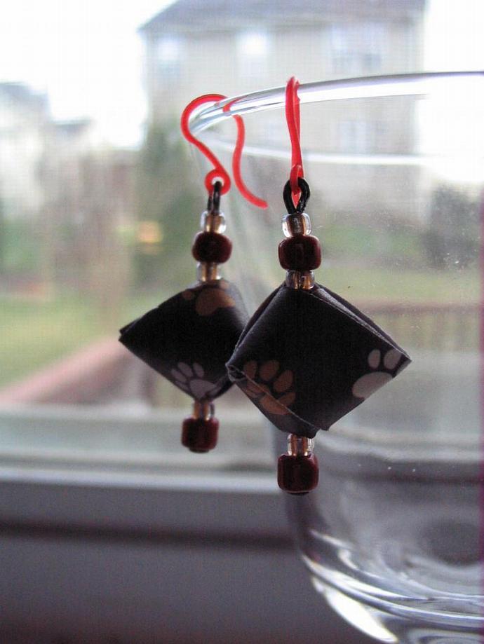 3-D Pyramid Origami Earrings