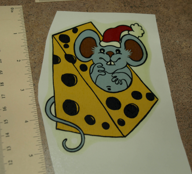 Christmas Mouse w Cheese Ceramic Waterslide Decal
