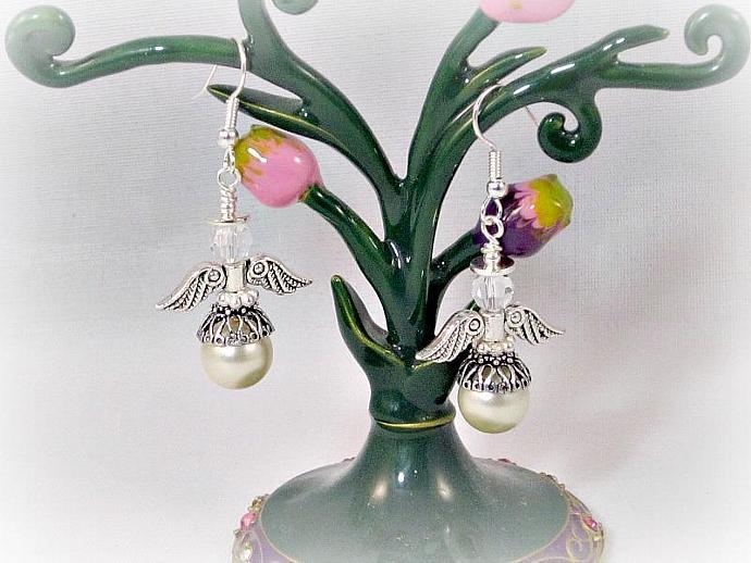 Arael Pearl Angel Earrings