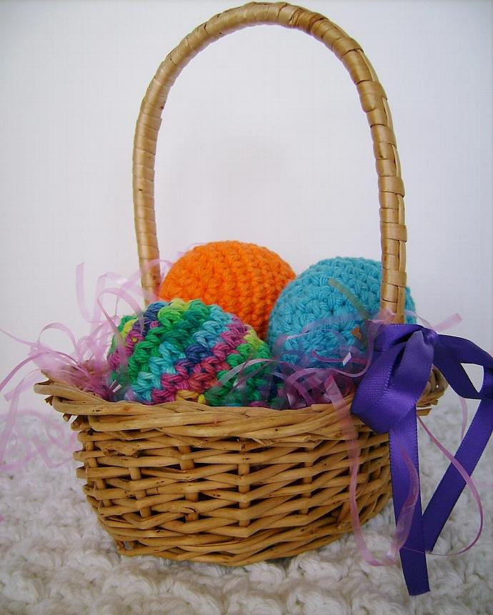Crocheted Easter Egg Set of Three for Spring Decor