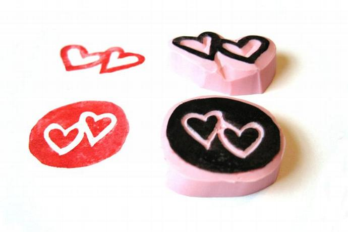 Heart Rubber Stamps, Hand Carved Heart Stamp Set