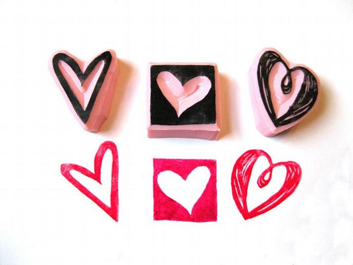 Heart Rubber Stamp Set, Heart Hand Carved Stamps