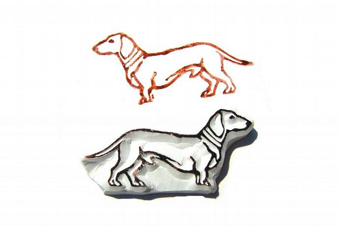 Mighty Dachshund Hand Carved Rubber Stamp, Doxen Rubber Stamp
