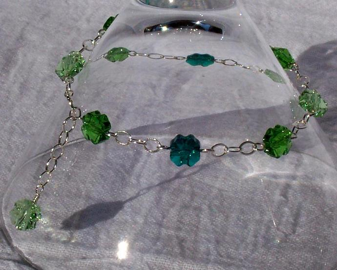 Lucky Clover Bracelet - Charm Style in Sterling Silver and Swarovski Crystal