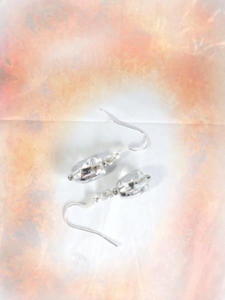 FREE SHIPPING Sophisticated Glass Bead Earrings 1in. long Sterling Silver Plated