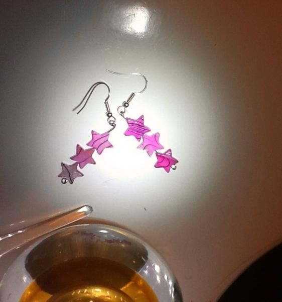 FREE shipping! Hot Pink Dangle Rock Star Earrings made from Acrylic beads,