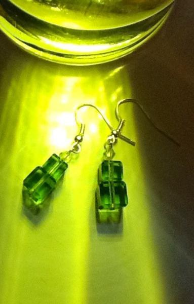 "SALE and FREE shipping on 1"" long green glass earrings. Sterling silver plated"