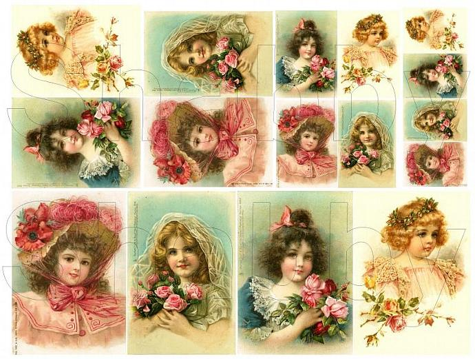 Shabby Chic Lovely Ladies collage sheet for scrapbook and cards  DC399