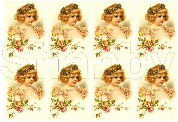 Shabby Chic Vintage Child  roses collage sheet for scrapbook and cards  DC406