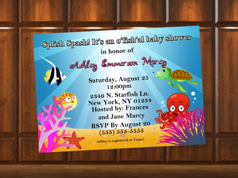Ocean Theme Baby Shower Invitation Digital | KustomKreations