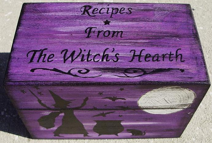 Primitive witch Recipe Box Witches Witch Witchcraft Halloween Folk Art Black