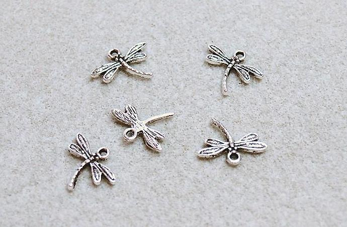 Silver Dragonfly- pewter charms - pendants