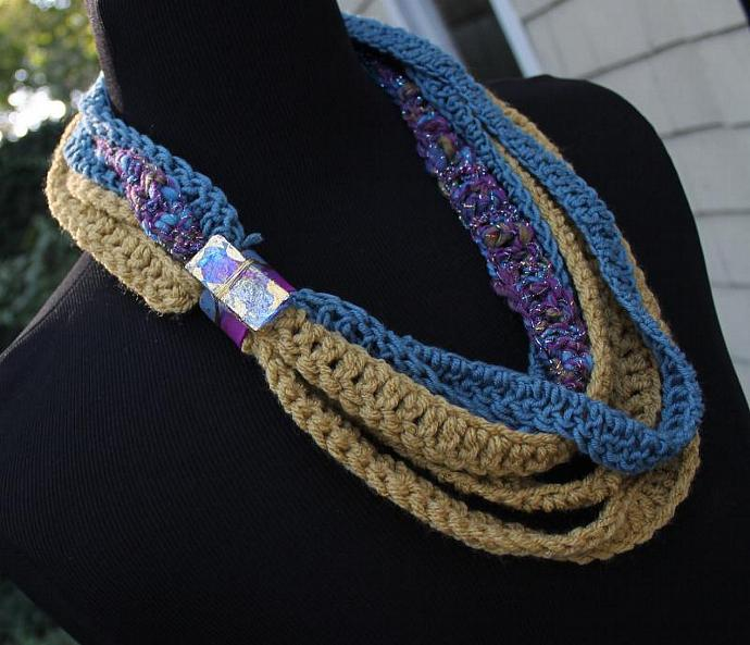 Wild Lavender - Multi Wrap Twisted Scarf with Marbled Clay, Wire and Gold