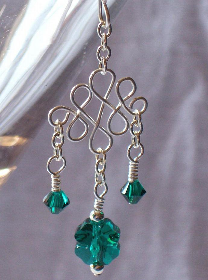 Celtic Wirework Earring and Pendant Set in Emerald