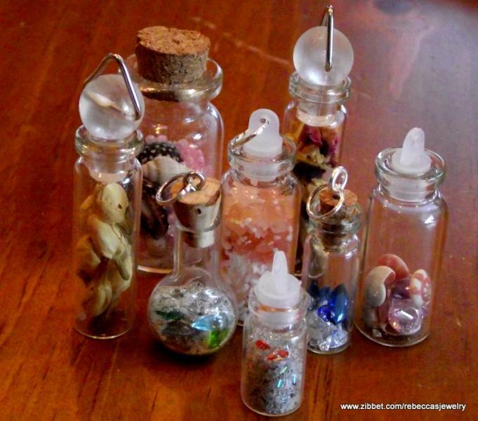"Bottle of ""Pixie Dust""  and Gems Pendant"