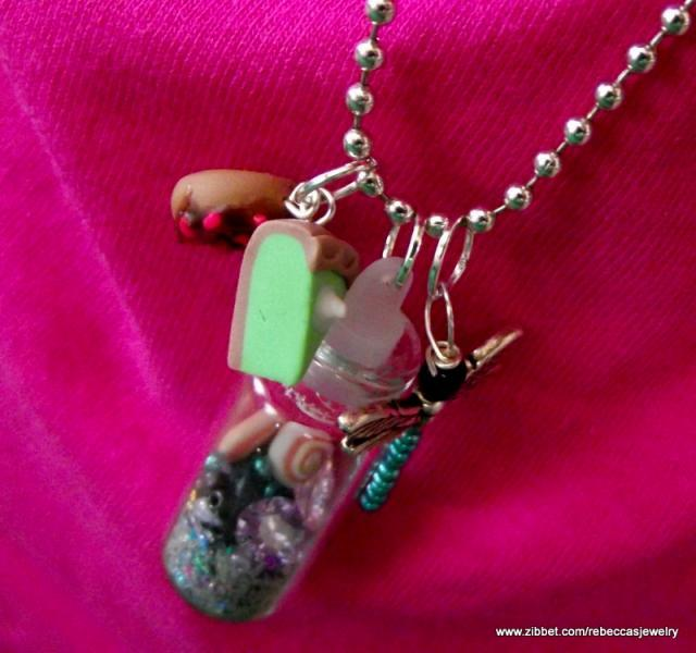 Bottle of Sea Shells and Gems Pendant
