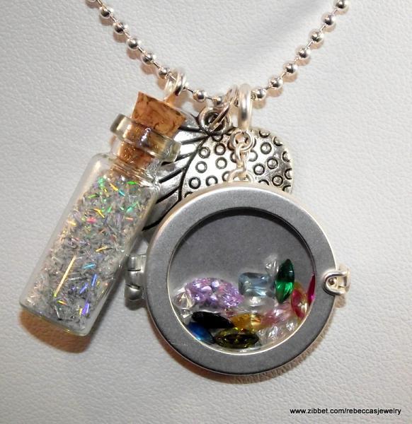 """Bottle of Blue """"Gems"""" Pendant"""