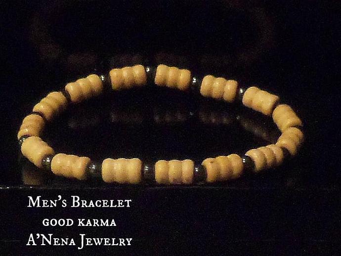 "Men's Bracelet: ""Good Karma"" Genuine Wood and Hematite Inspired by buddist"
