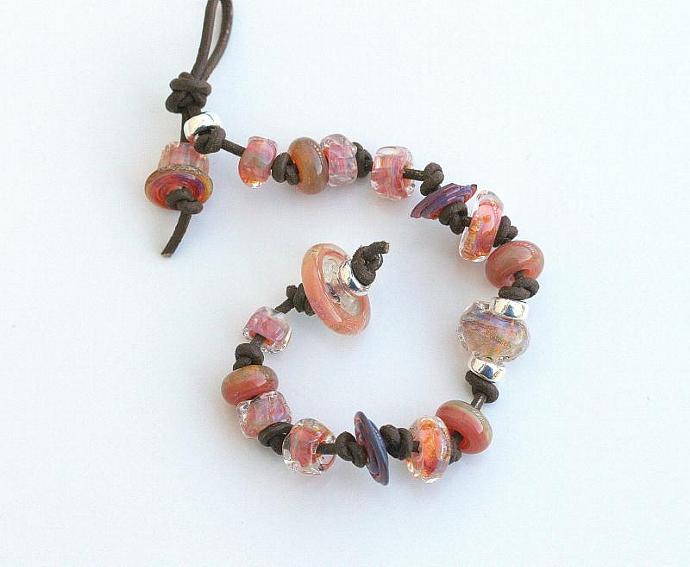 Leather and Lampwork bracelet, Bubbly effervescent artisan glass beads