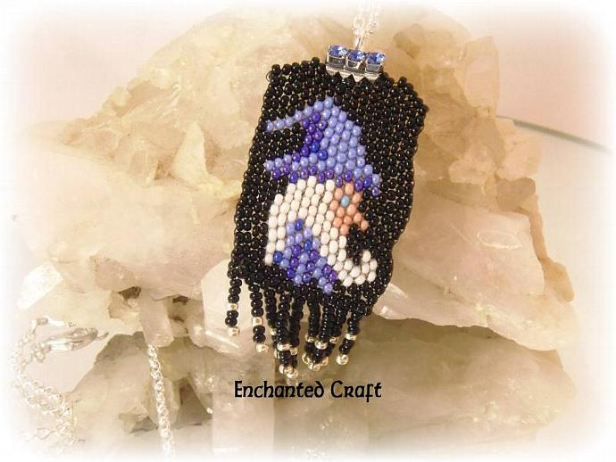 Wizard beaded pendant, blue and black