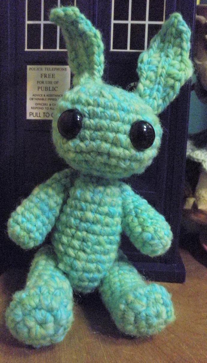 turquoise merino wool bunny